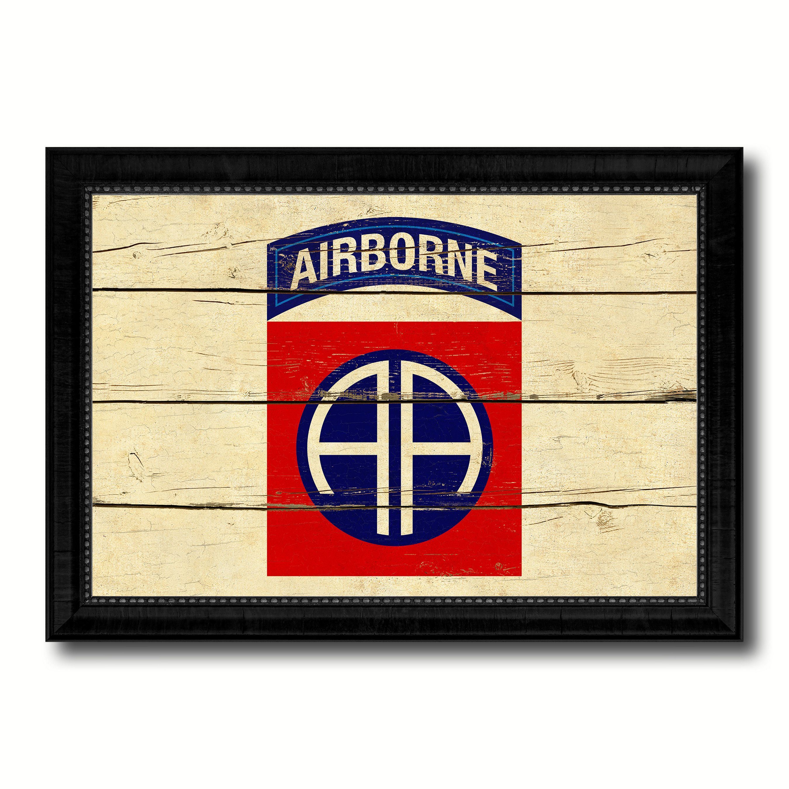 US Army 82nd Airborne Military Flag Vintage Canvas Print with Black ...