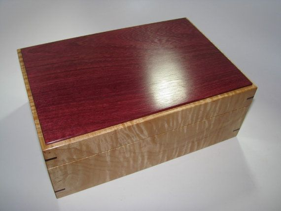 Purpleheart And Tiger Maple Keepsake Memory Box Lined In White Leather 10 X 7 X 4 With Images Wooden Box Designs Wood Keepsake Box Wooden Boxes