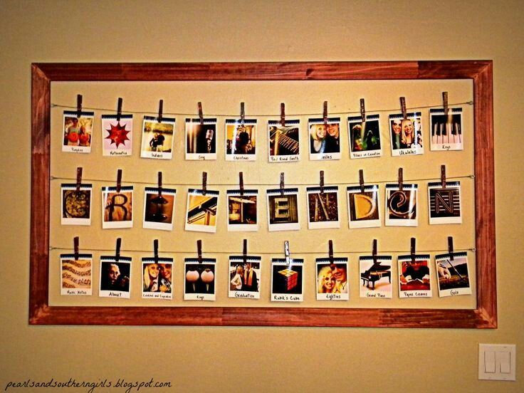 Homemade hanging polaroids in frame | Wall decorations | Pinterest ...