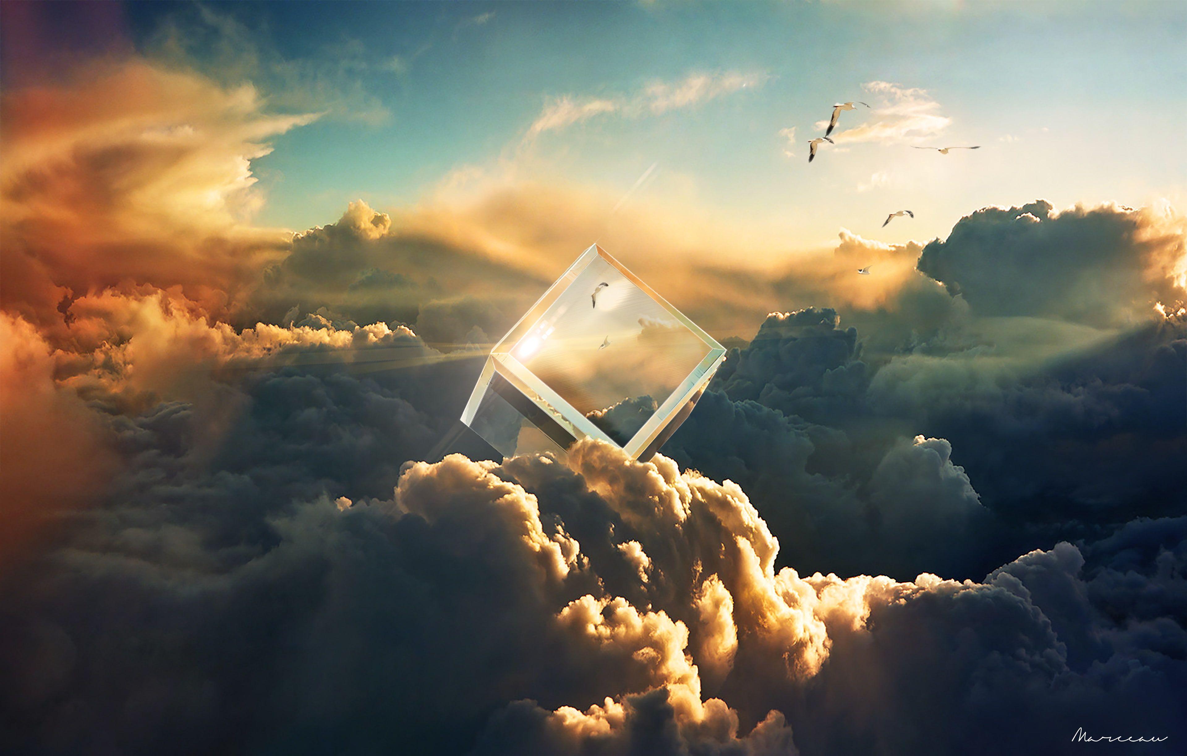 Birds 4k Crystal Cube Sky Clouds 4k Wallpaper Hdwallpaper Desktop Hipster Wallpaper Spring Desktop Wallpaper Desktop Wallpaper