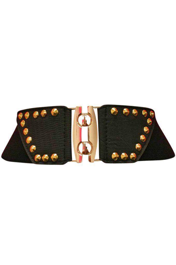 Black Textured Gold Studded Wide Stretch Belt