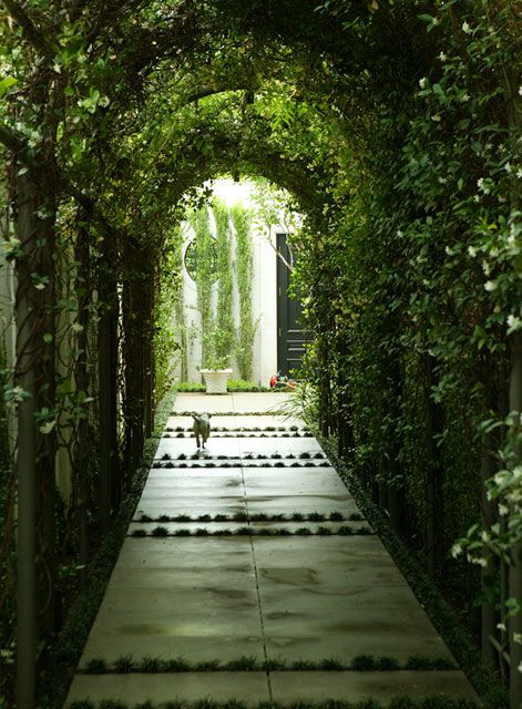 Covered walk. Design by Bellamy Design, Dallas.