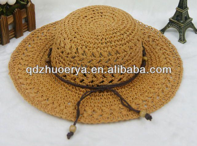 de papel de paja crochet verano playa sombrero-Otros Sombreros y ...