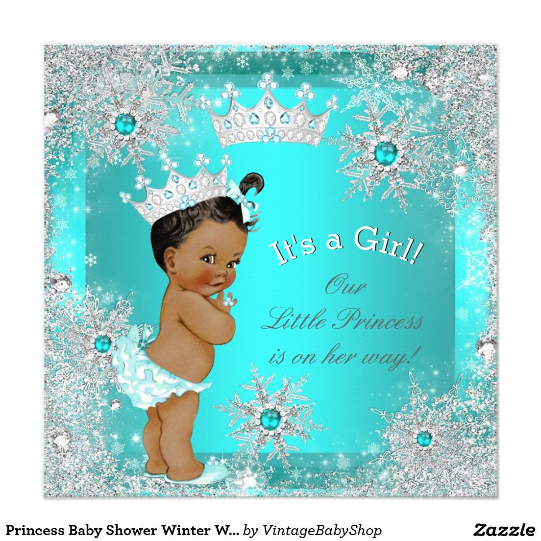 Princess Baby Shower Winter Wonderland Ethnic Card   ANISSA BABY ...