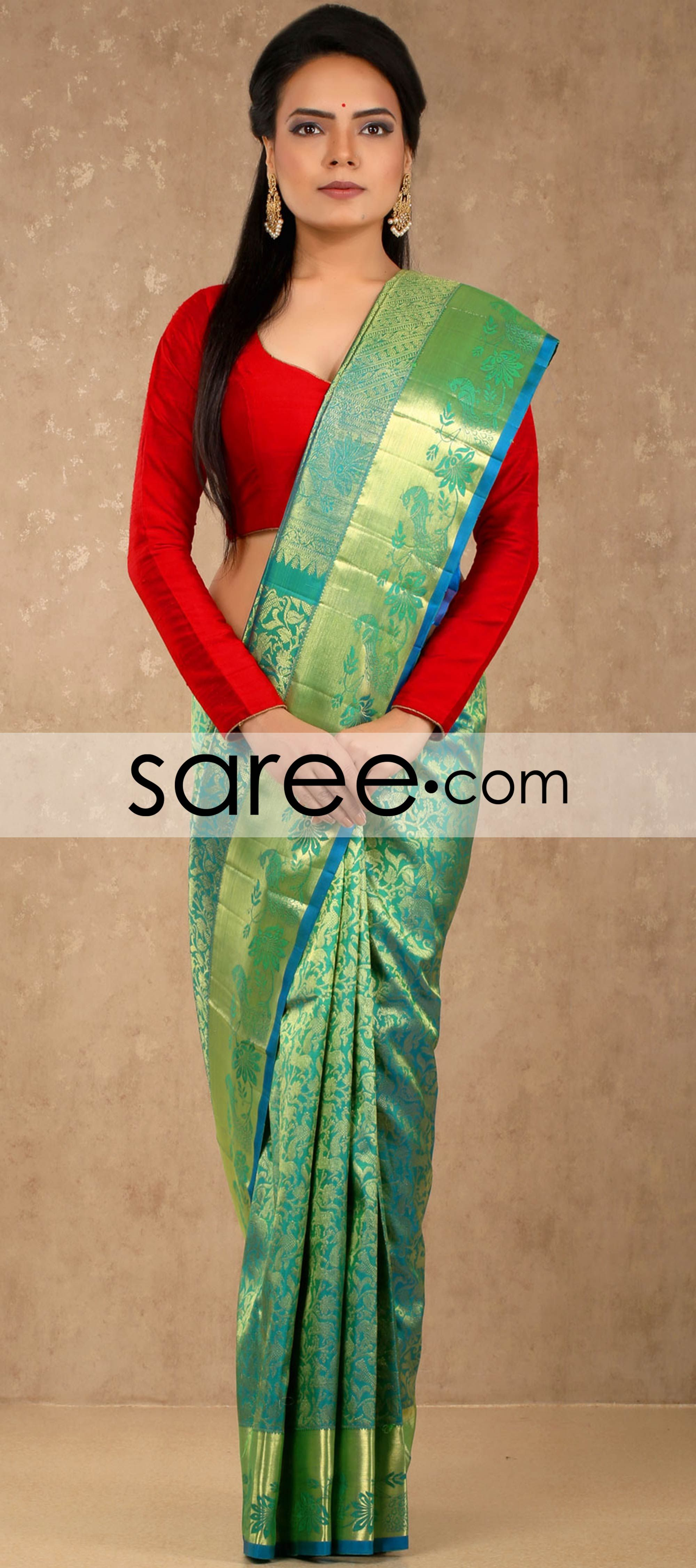 de3acdda6db053 Sea Green Kanchipuram Silk Saree with Weaving | Silk saree | Silk ...