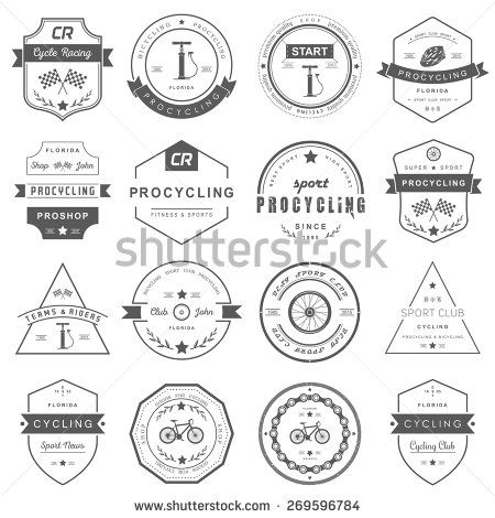 Set of badges and logos cycling Symbols and emblems pro bike shop - bicycle repair sample resume