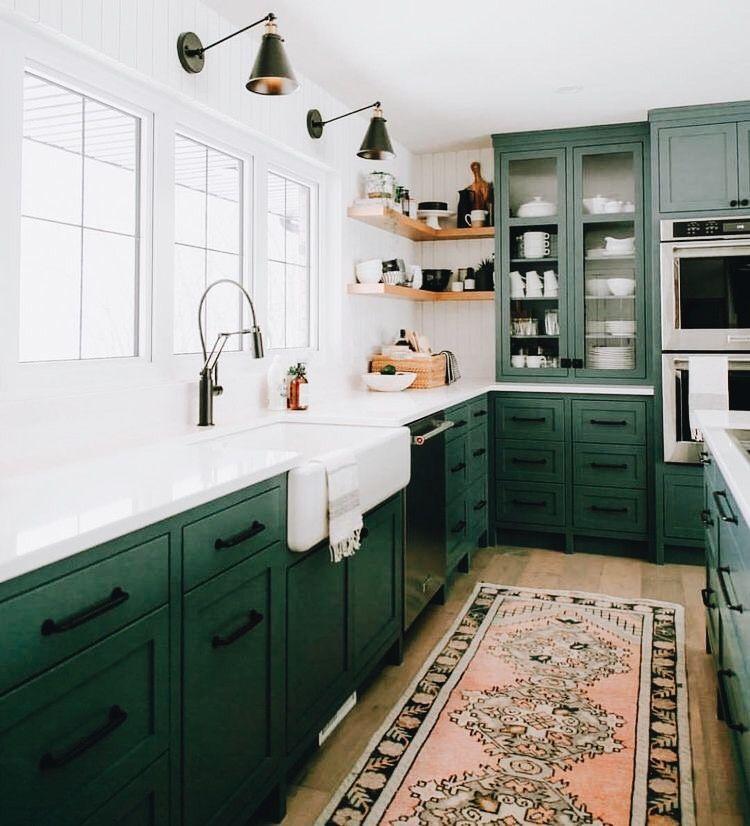 Example Kitchen Layout Sink Wall Is All French Casement Windows Green Kitchen Walls Green Kitchen Cabinets Kitchen Interior