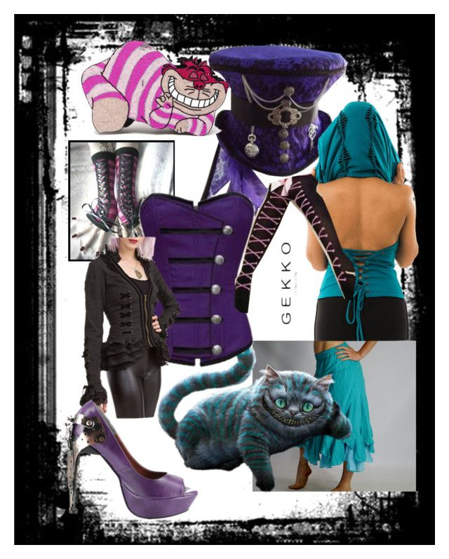 """Cheshire Cat steampunk"" by reraelusk ❤ liked on Polyvore featuring Olympia Le-Tan, Disney, Cosgirl and HADES"