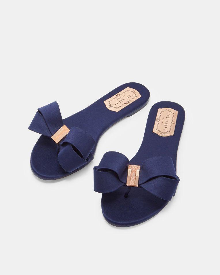 Womens Satin Bow Slides Mules Sliders Beach Summer Sandals Trendy Designer Style