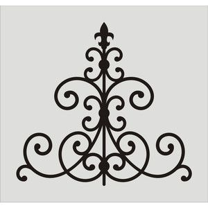 wrought iron fleur de lis stencil 10 wall stencil damask flourish scroll - Wrought Iron Wall Designs