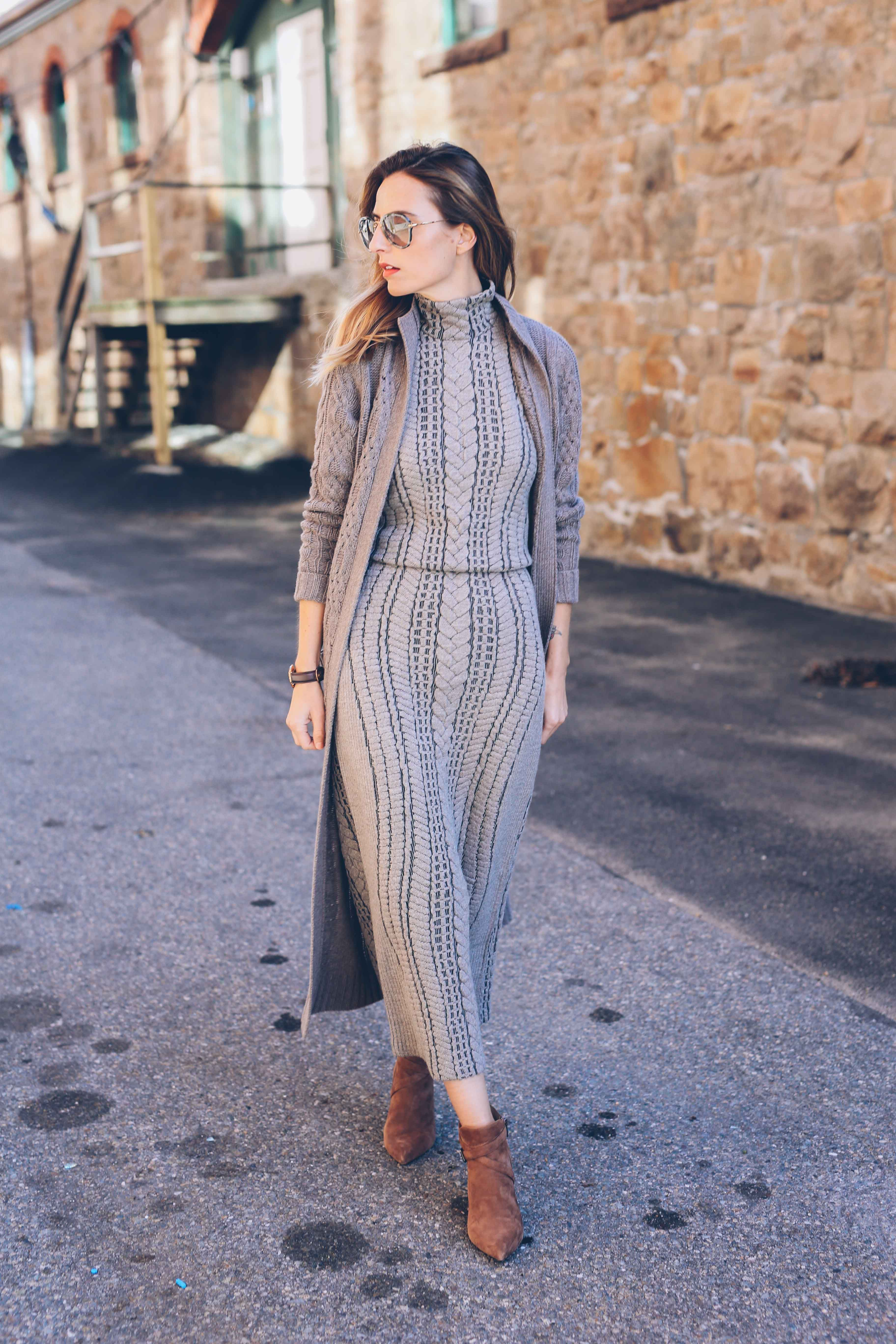 Cable Knit Maxi Dress Prosecco and Plaid | W by Worth Women ...