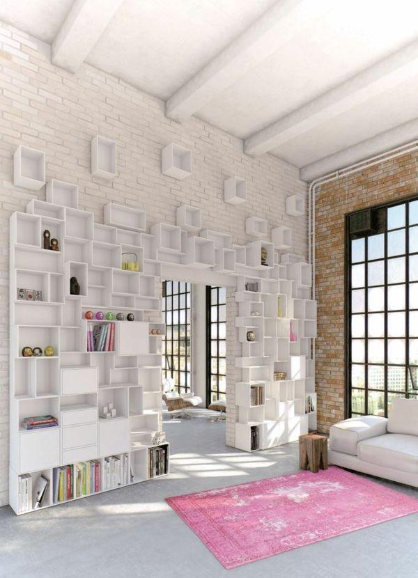 Wand Regalsystem weiß Wohnzimmer einrichten Natursteinwand rosa ...