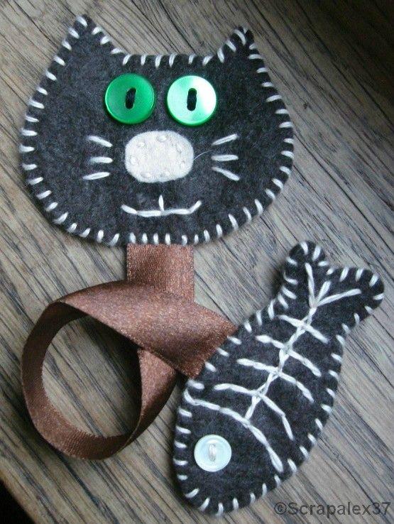 chat et poisson en feutrine rebrod e 07 scrap animaux pinterest poisson en feutrine. Black Bedroom Furniture Sets. Home Design Ideas