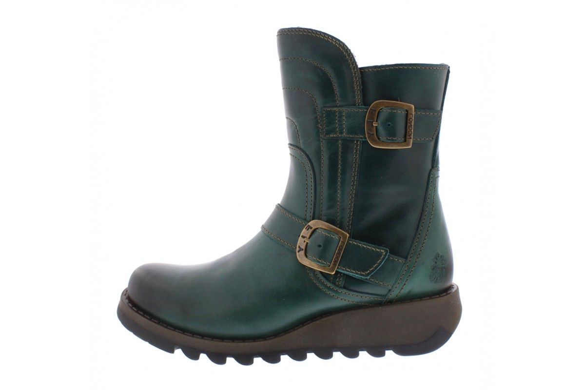f539a6966983 Fly London Sven Rug Petrol Teal Leather Wedge Heel Ankle Boots ...