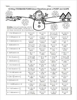 Christmas Algebra: Writing Linear Equations in Standard