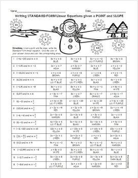 Christmas Algebra Writing Linear Equations In Standard Form W A