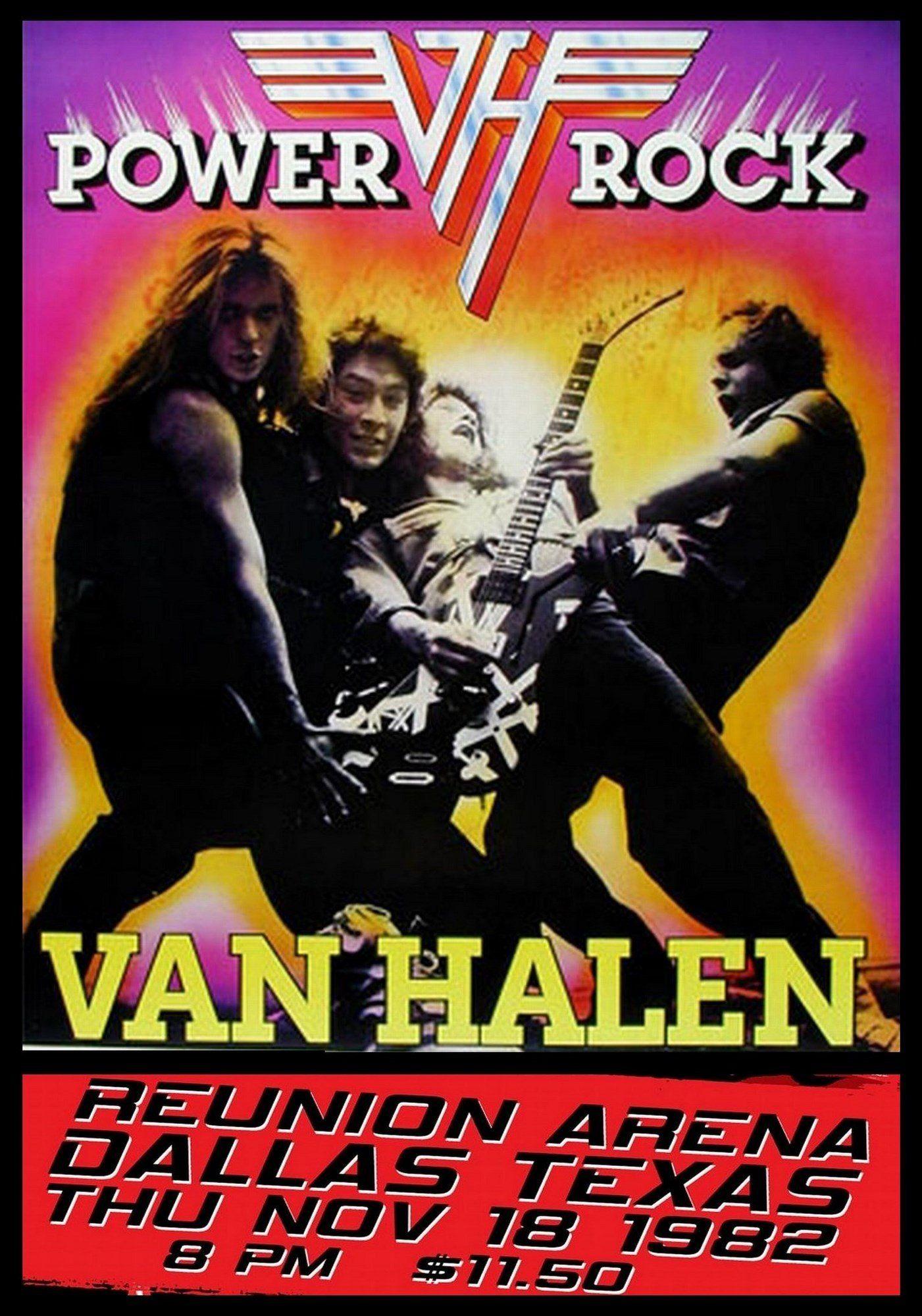 Van Halen Vintage Poster Reunion Arena Dallas Texas 1982 Music Concert Posters Van Halen Concert Posters