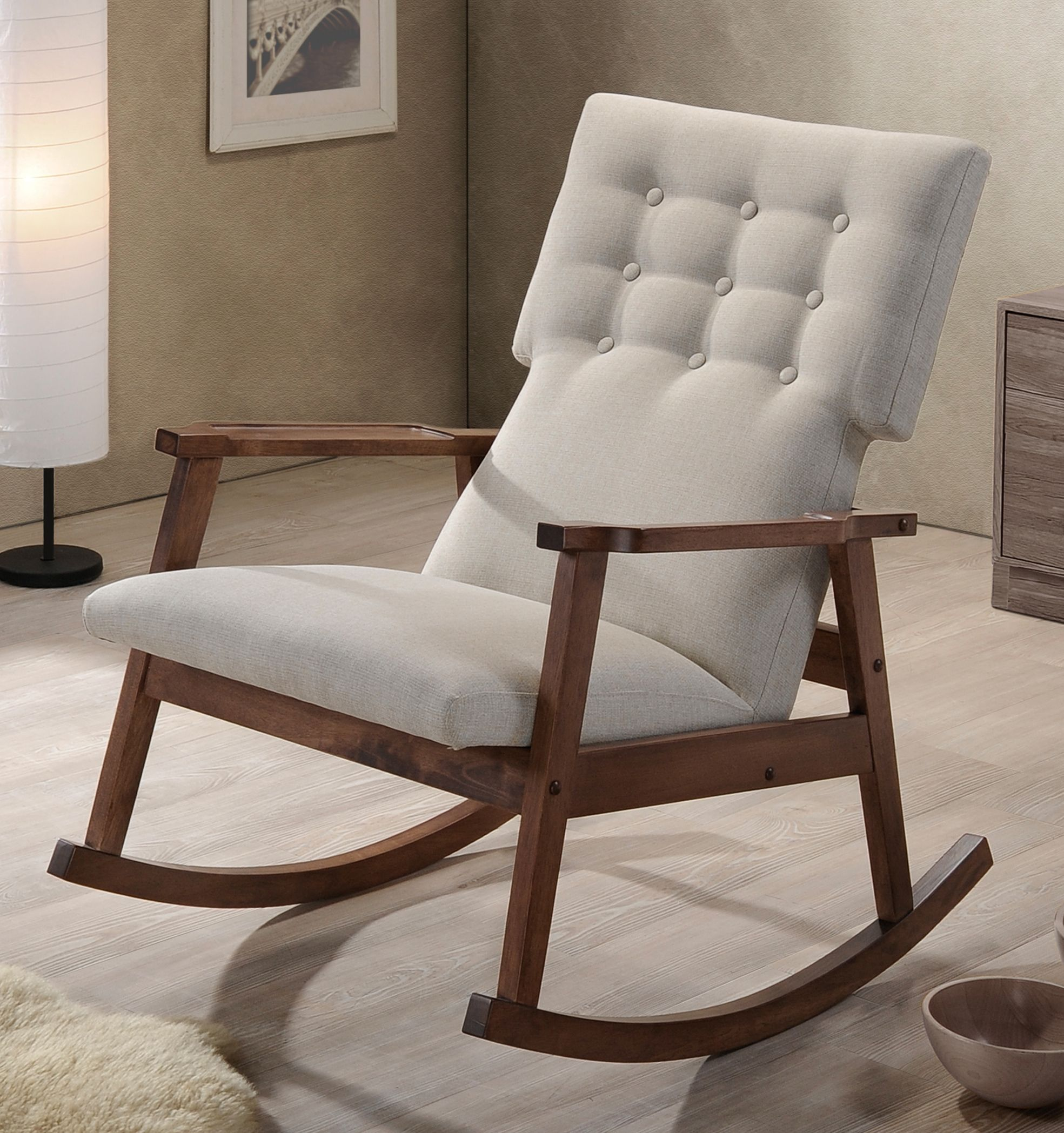 White Upholstered Rocking Chair Diy Dining Room Covers Midcentury Modern Fabric Button Tufted
