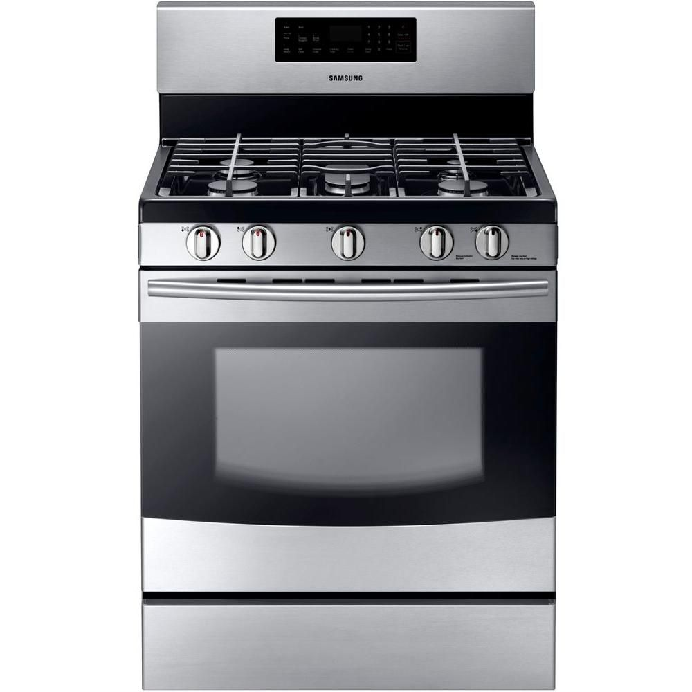 Samsung 30 in. 5.8 cu. ft. Gas Range with Self-Cleaning Oven and 5 ...