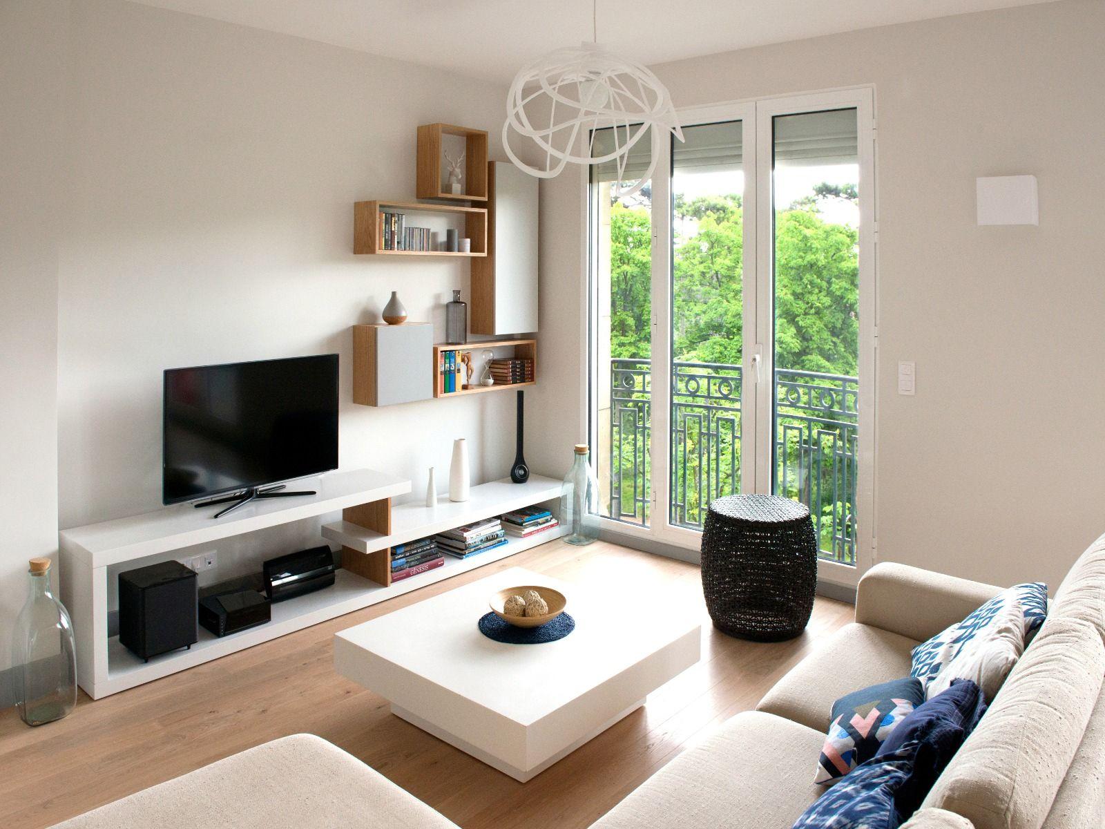 r alisation murs et merveilles salon ambiance scandinave neuilly espace tv sur mesure. Black Bedroom Furniture Sets. Home Design Ideas