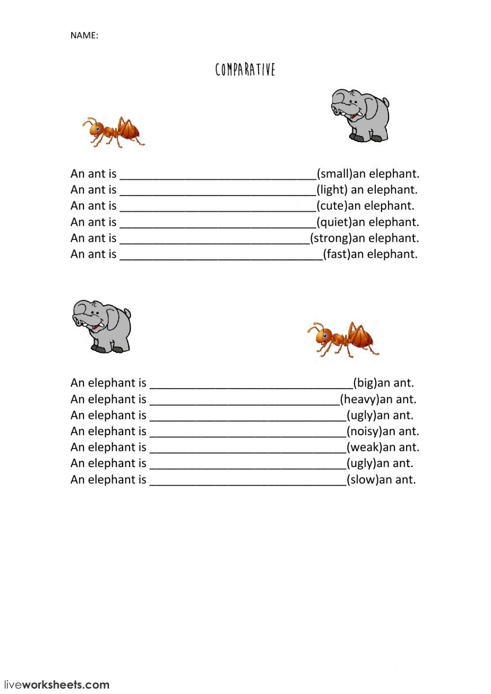 Comparatives online worksheet. You can do the exercises