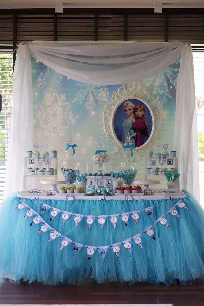 Lovely Dessert Table At A Frozen Birthday Party See More Ideas CatchMyParty
