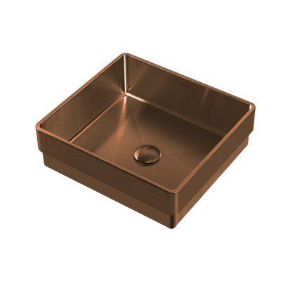 Photo of Noah Plus Metal Square Vessel Bathroom Sink Sink Finish: Copper
