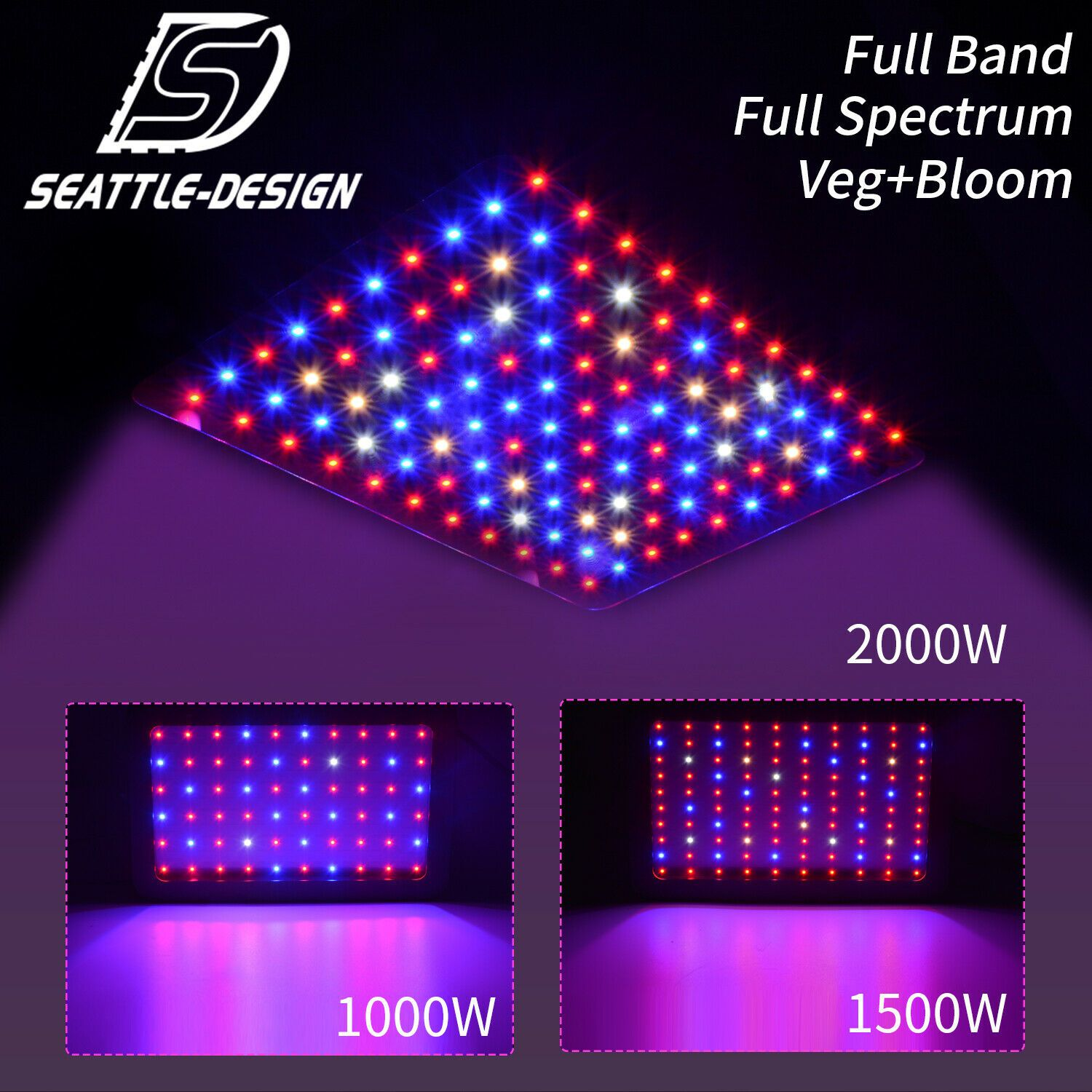 2000w 1500w 1000w Led Grow Light Full Spectrum Veg Bloom Dual Switch Hydroponic In 2020 Led Grow Lights Grow Lights Led Grow
