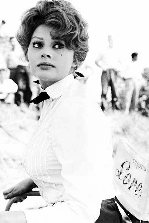 "Sophia Loren on the set of ""A Breath of Scandal"", 1960."
