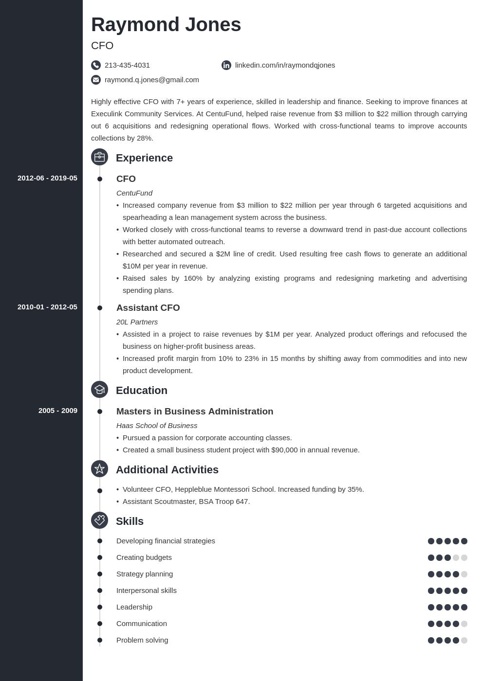 Cfo Resume Example Template Concept Teacher Resume Examples Resume Examples Teacher Resume