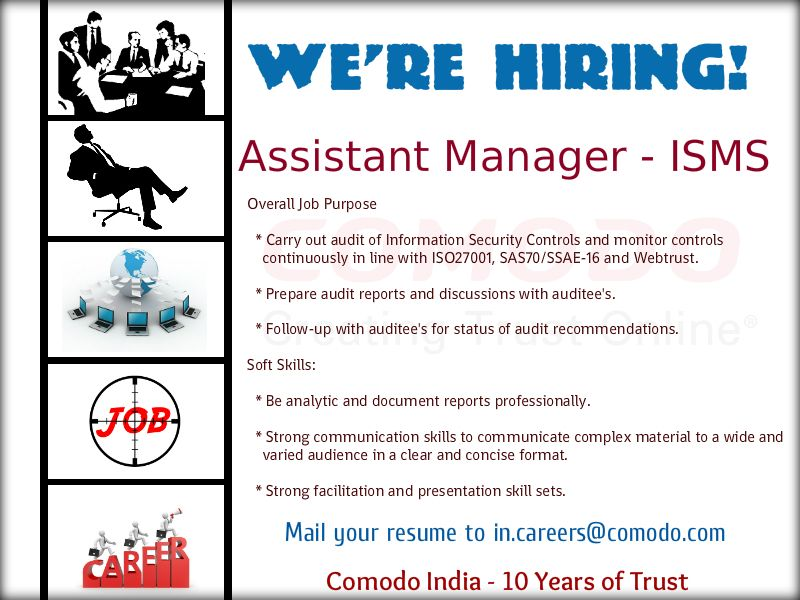Weu0027re Hiring! JOB TITLE Assistant Manager - ISMS Exp 4 - 6 yrs - purpose of a resume