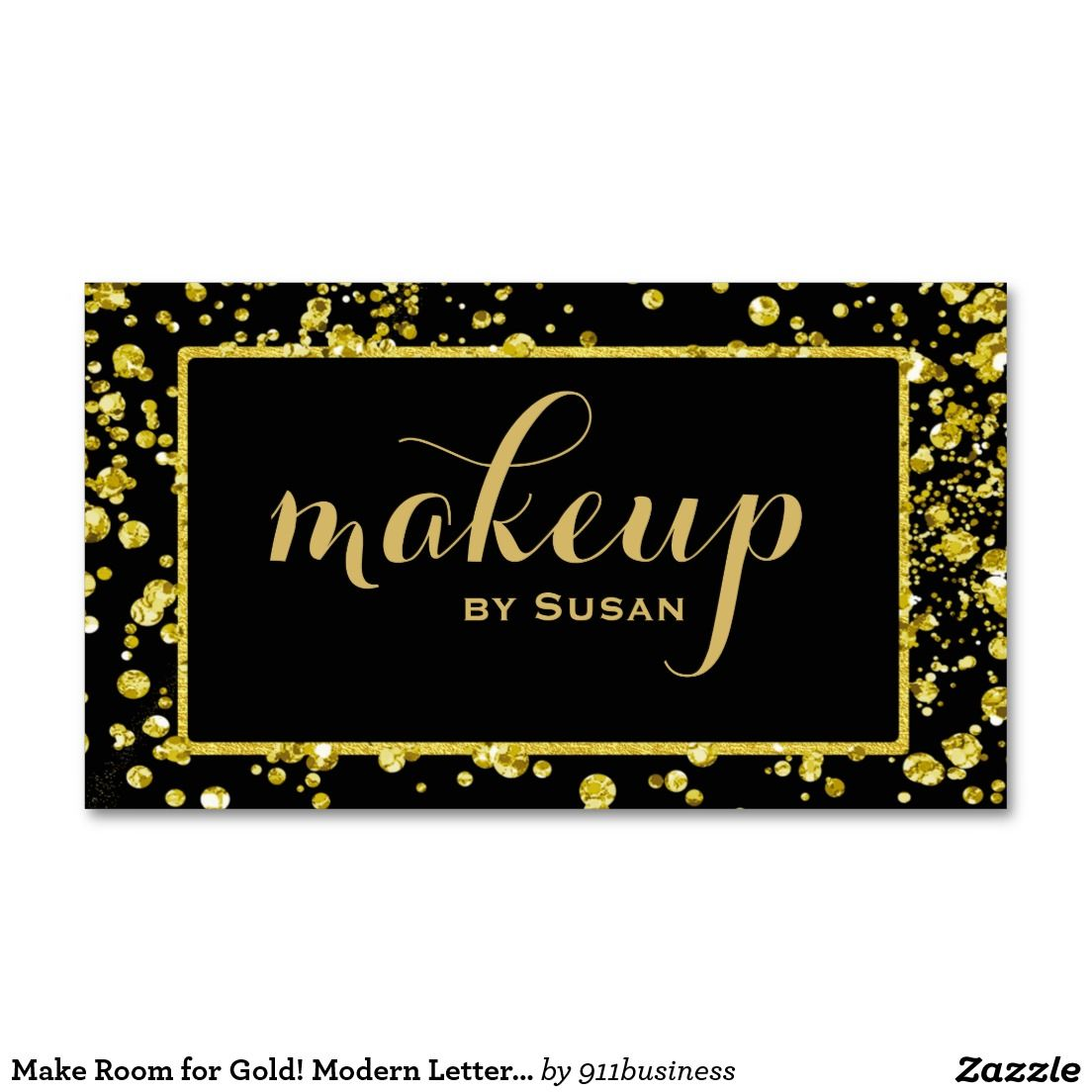 Makeup Artist cosmetologist business card. Confetti gold and a lot ...