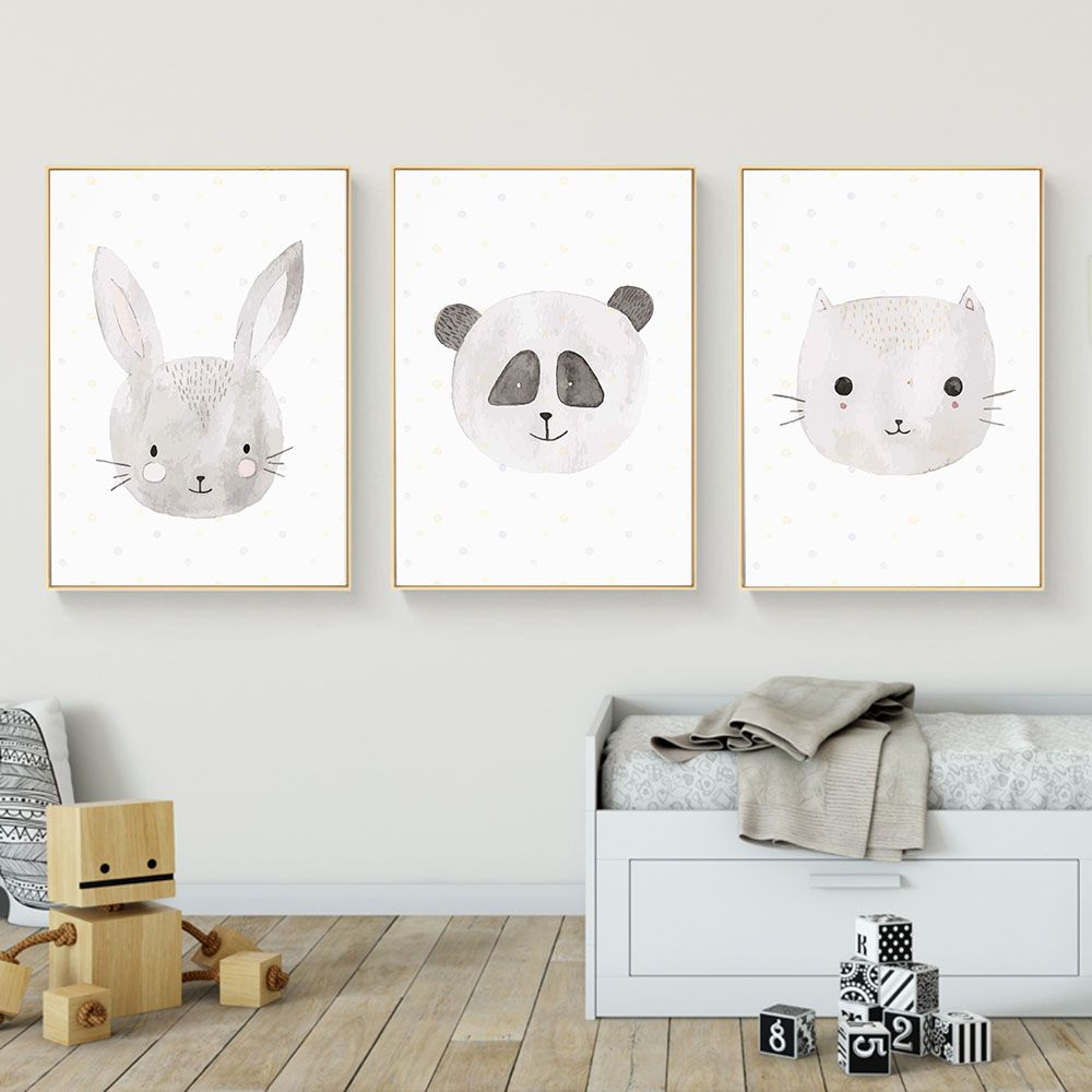 Barato Kawaii Animais Gato Coelho Fox Cartazes E C Pias Da Lona Arte  -> Arte Parede Sala