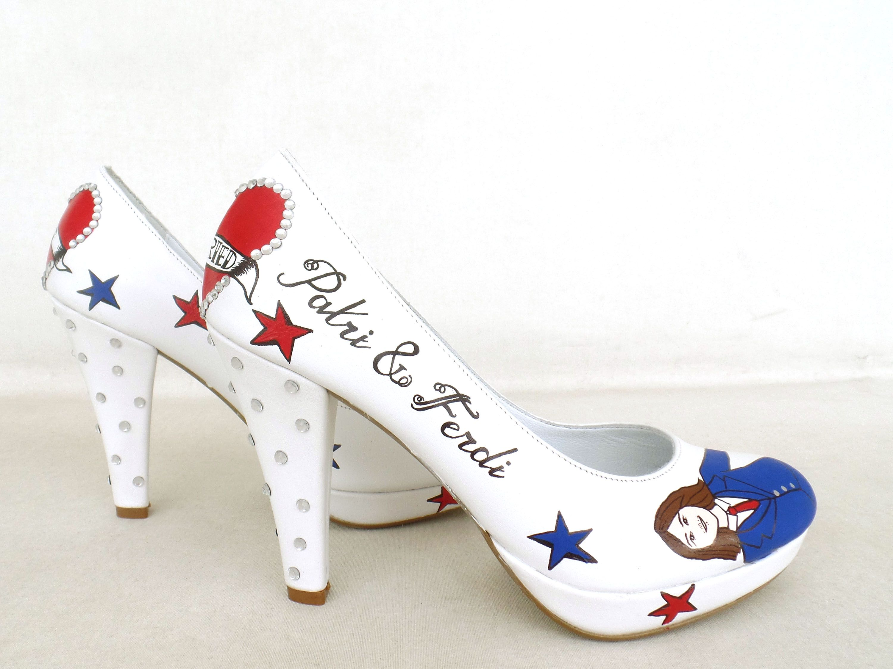 Handpainted custom design bridal shoes with rockabilly theme :) https://www.etsy.com/shop/KUKLAfashiondesign