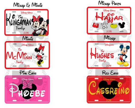 5.5 x 3.5 in size with Matching Ribbon Personalized MICKEY MOUSE Stroller Tags  Laminated 5mil Disney Stroller Tag