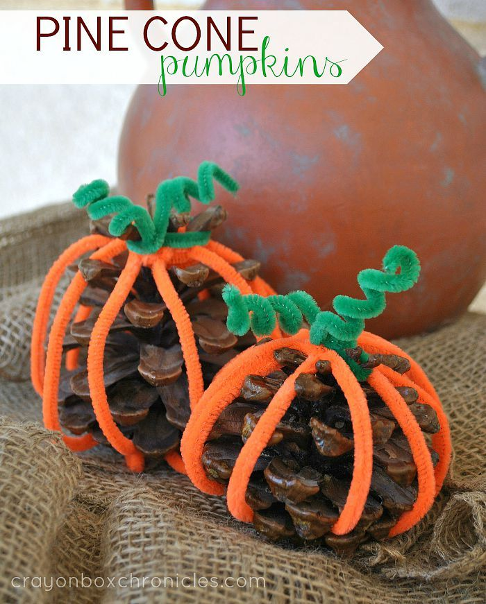 Wonderful Pine Cone Craft Ideas For Kids Part - 5: Easy Pine Cone Pumpkin Craft For Kids #Halloween #Fall #pinecones