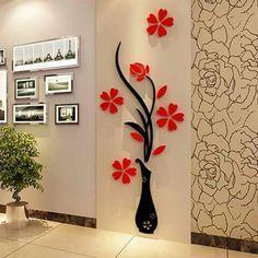decoración con flores en madera
