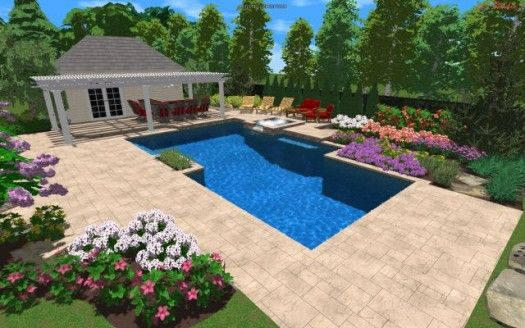 3d Pool House And Swimming Pool Design Landscape Design Plans