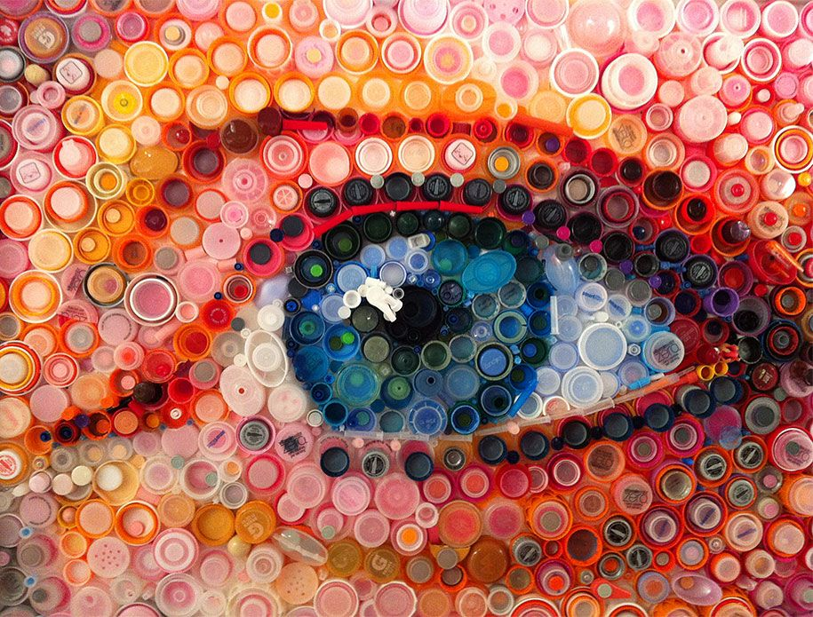 Plastic bottle cap projects hundreds of plastic bottle caps turned into stunning images by - Plastic bottle caps crafts ideas ...