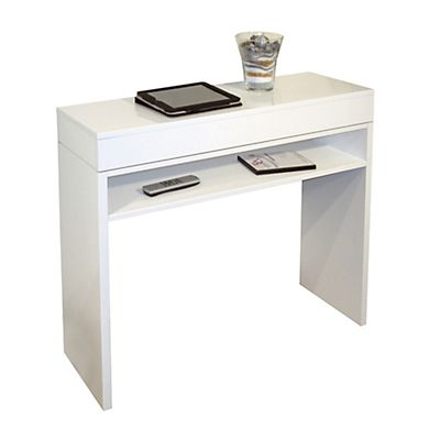 console avec plateau coulissant laquee blanche bureau angle coin bureau console blanc laque