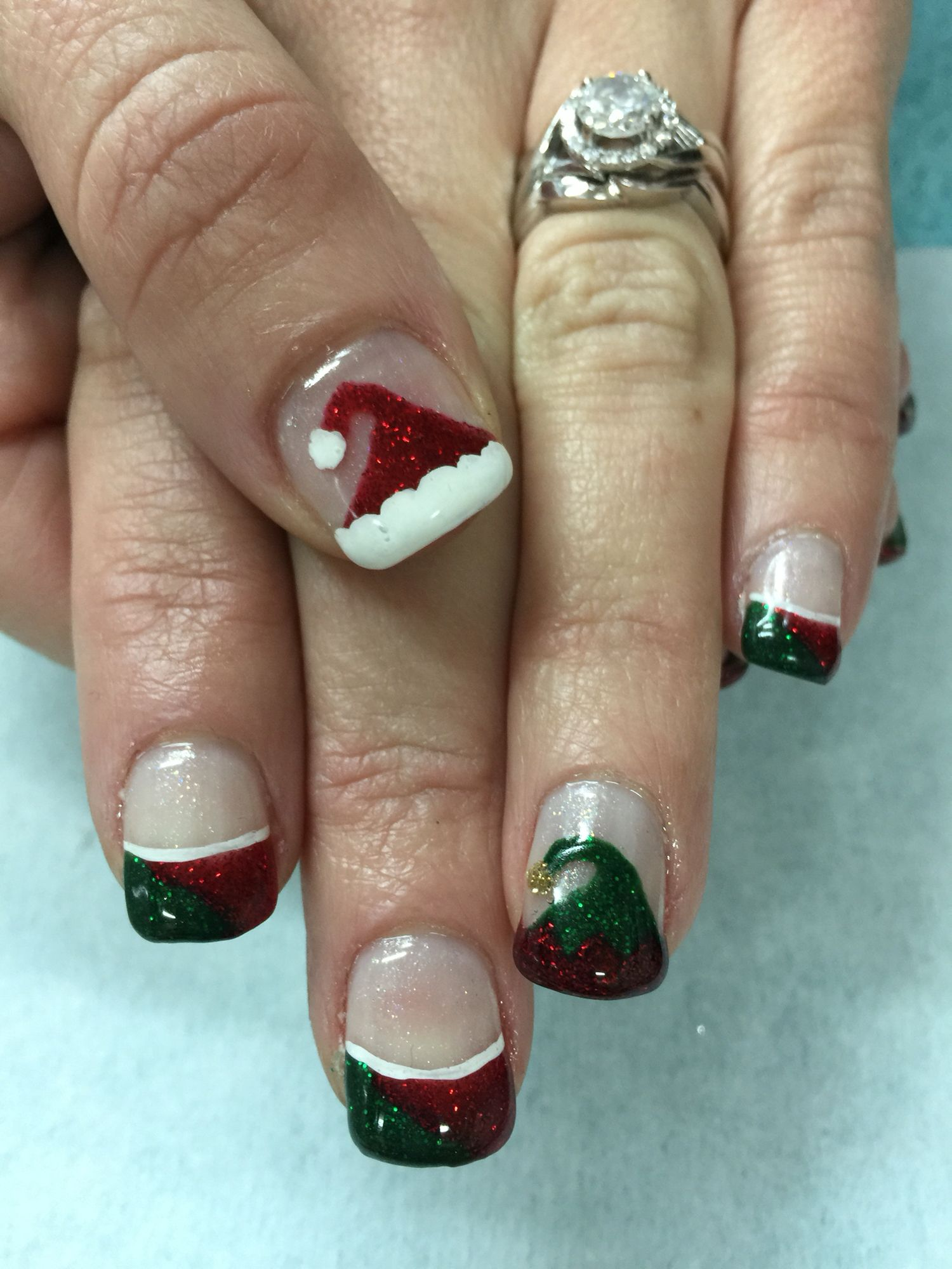 Festive Red & Green Elf & Santa Hat Christmas French gel nails. All ...