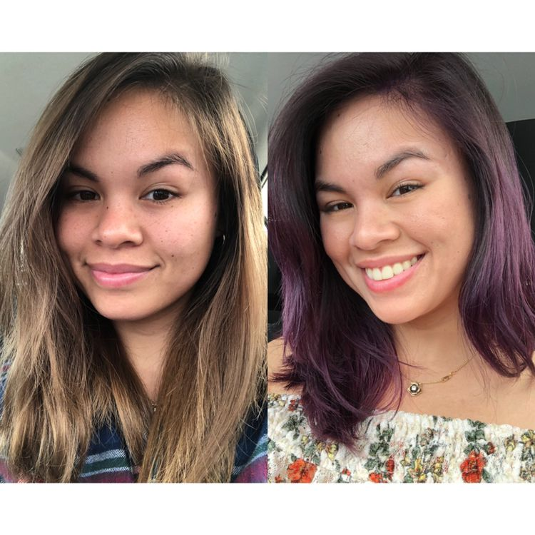 I used Overtone Purple for Brown Hair   Green hair, Hair ...