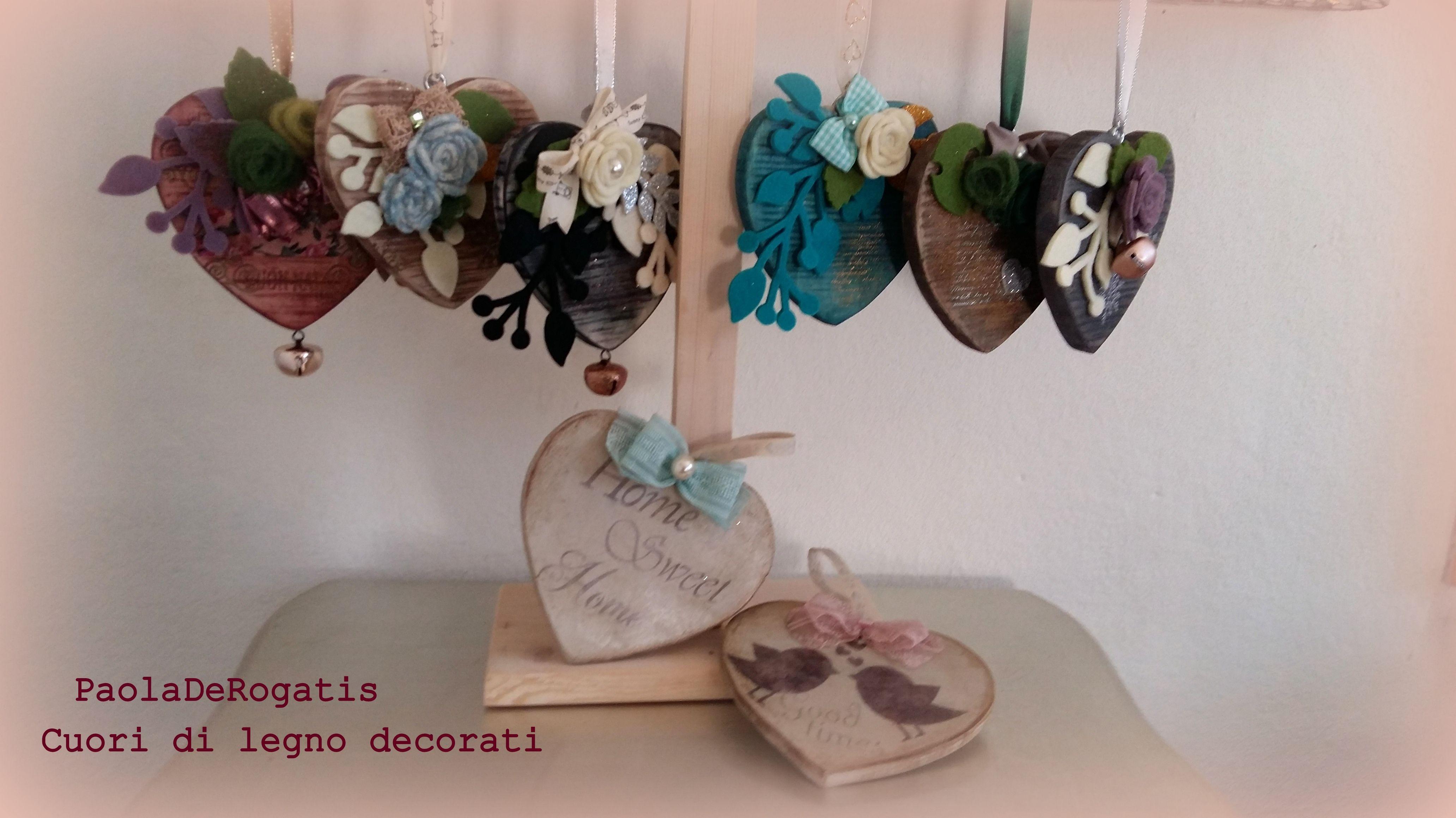 cuori di legno decorati...abbellimenti per la casa idea regalo