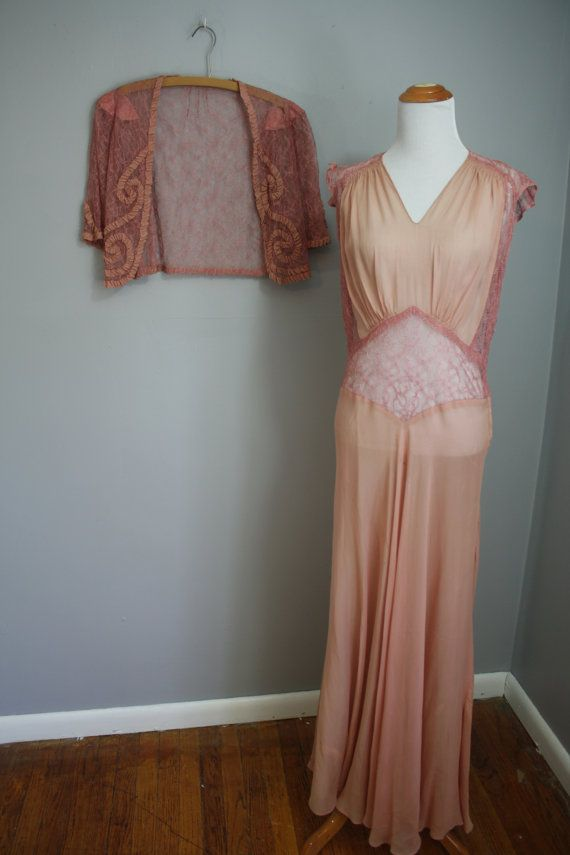 1930's Gown and Jacket // Sheer Pink with by LawrenceOfBaltimore