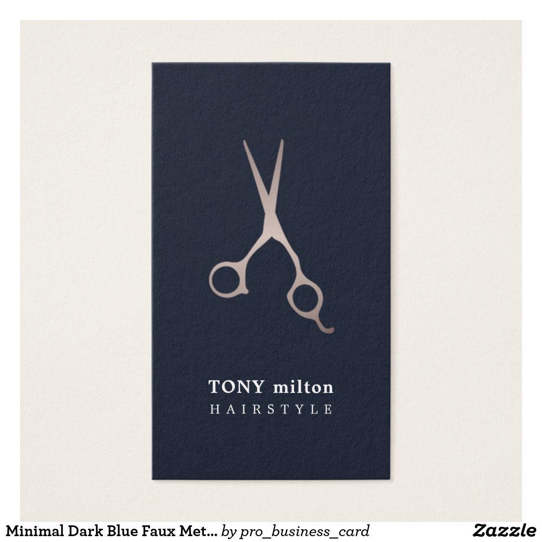 Minimal Dark Blue Faux Metal Scissors hair Business Card   Business ...