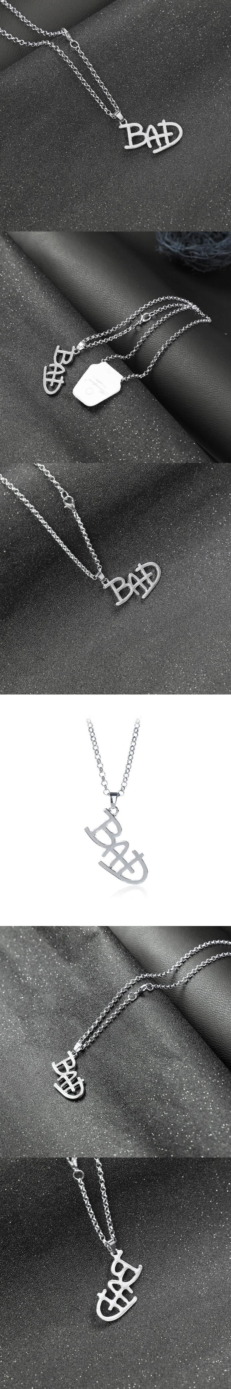 2017 New MJ Necklace souvenir for Michael Jackson BAD LOGO Pendent  Memorable Ornament for MJ