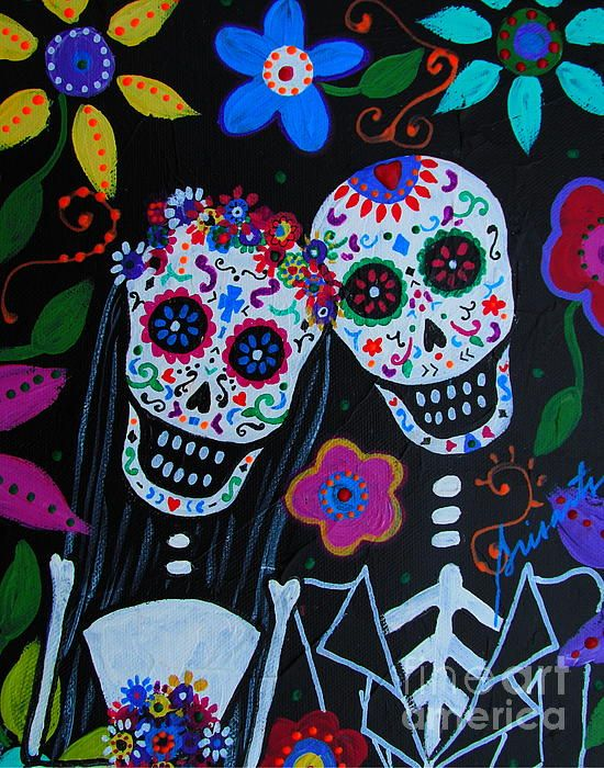 Day Of The Dead Wedding Original Painting Available For Guitar Gitara
