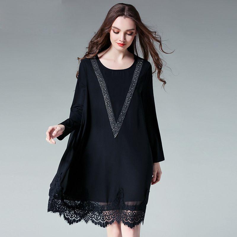 2017 spring lace patchwork women chiffon loose dresses plus size v