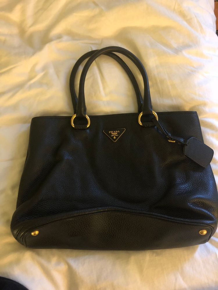 13a695845a05 Authentic Prada Black Vitello Daino Leather Shopping Tote Bag BN2780  bag   women  sale  bags  prada