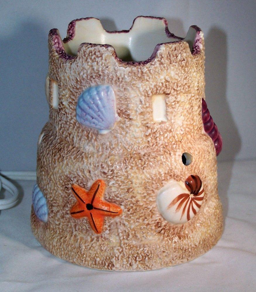 Darice Ceramic Wax Warmer Electric Beige Flowers And Nature Design